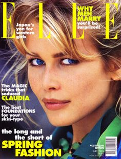 Claudia Schiffer for Australian Elle July 1994 cover by Gilles Bensimon