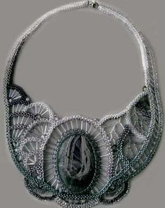 Bib-Style Necklace with Fluorite Gemstone Cabochon, Seed Beads and Cat's Eye Glass Beads