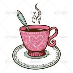 Tea or Coffee Cup with Heart Shaped Steam