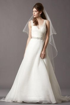 #Sleeveless V-neck Bow Layered #Organza A-Line #Wedding Dress V-back