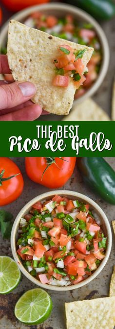 The BEST Pico de Gallo Recipe with just a few ingredients! Perfect to eat with chips or put on tacos! Authentic Mexican Recipes, Mexican Food Recipes, Vegetarian Recipes, Cooking Recipes, Healthy Recipes, Dip Recipes, Salad Recipes, Gucomole Recipe, Best Pico Recipe