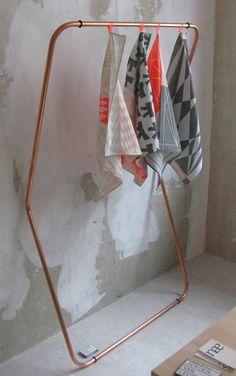 Copper rail scarf holder