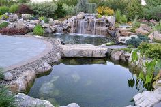Outdoor Retreat's Phase II: The first of two ponds, this smaller pond with stepping stone bridge was added. It has its own waterfall; the liberal use of river gravel at the bottom of the pond and around its edges. www.deckandpatio.com