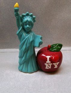 Statue of Liberty and I Love New York Big Apple Salt Pepper Shakers WG | eBay
