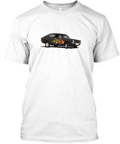 classic car from the UK, the Morris Marina Coupé print t-shirts. Pimped with a flames Morris Marina, Car Illustration, Classic Cars, T Shirt, Mens Tops, Cutaway, Tee Shirt, T Shirts, Vintage Cars