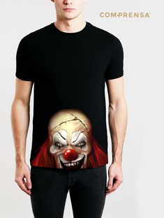 """Black cotton T-shirt from Com-Prensa featuring a round neck, short sleeves and a print to the front """" Evil Clown """"  #manufacturer #barcelos #sweat #colours #tshirt #cotton #comprensa #fashion #model #fashion #design #company #textile #portugal #sublimation #screenprinting #digitalprint #laser #photoprint"""
