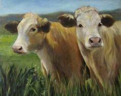 Il s'agit d'un 16 x 20 x 1 vache reproduction giclée print de l'une de mes premières toiles de bovins qui étaient sur notre ferme. J'ai pris de nombreuses photographies que j'ai aidé mon mari à nourrir les bovins et j'ai des fichiers sans fin d'eux que j'utilise comme source d'inspiration pour mes peintures. Je suis toujours étonné de voir les motifs et ton naturel de terre couleurs ce chiffon ces magnifiques animaux.  Il est tendu sur toile 16 x barres de civière 1 x 20. A besoin…