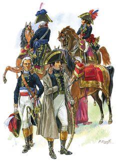 Napoleone con generali francesi durante la campagna d'Italia