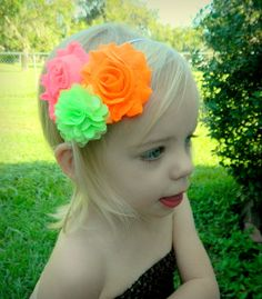 Neon shabby flower headband. Pink, orange, and green. Great price and low shipping!