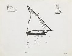 Albert Marquet (French, 1875-1947), Voiliers. Pen and ink drawing, 20 x 26 cm.