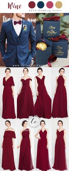f03f65e8a66f 2019 wedding colors trend - wine bridesmaid dresses #wedding  #weddinginspiration #bridesmaids #bridesmaiddress