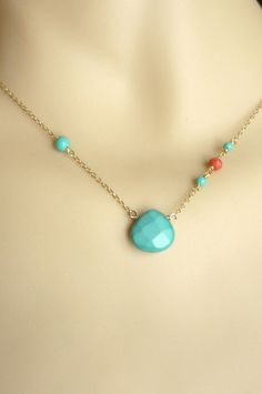 Turquoise necklace with coral and vermeil chain, gold plated over sterling silver, summer necklace,beach necklace via Etsy