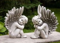 "Set of 2 Large Cherub Angel Statues 16"" Tall $159.99"