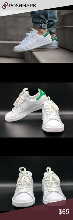 Adidas Women's Originals Stan Smith Shoe These are new Adidas Women's Originals Stan Smith Shoes. These are part of store display so you may see little bit sign of wear. No Box.  Style - B24105  Size - 6 Color - White/Green MSRP $75  Sizing: Runs large; order next size down.  - Round toe - Leather construction - Lace-up style - Perforated signature side accents - Contrast heel counter - Removable insole - Grip sole - Imported  Materials  Leather upper, textile lining, rubber sole adidas…