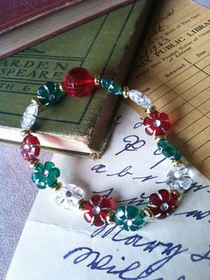 Christmas beaded strech bracelet holiday red green by WontonBeauty, $2.50