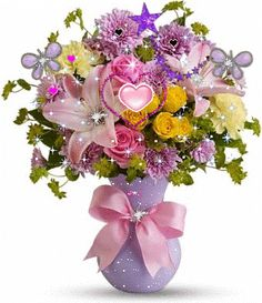 Perfectly Pastel Bouquet - The elegant bouquet features pink Asiatic lilies, yellow carnations, lavender cushion spray chrysanthemums, yellow spray roses and pink roses accented with assorted greenery. Delivered in a lavender plastic vase tied with a pink Pastel Bouquet, Pastel Flowers, Fresh Flowers, Beautiful Flowers, Lily Bouquet, Yellow Carnations, Pink Roses, Flores Do Canada, Flowers Canada