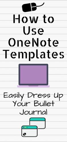Last week I shared how I changed my bullet journal from paper to digital using OneNote. It was so popular I'm sharing tips on how to maximize the usefulness of OneNote. Today: How to add templates to your OneNote pages. Onenote Template, Notes Template, Journal Template, Planner Template, Bullet Journal Onenote, Bullet Journals, One Note Microsoft, Microsoft Office, One Note Tips