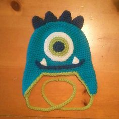 Aqua Blue and Lime Crocheted Monster Hat by laceylove81