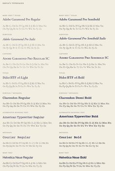 Down to metadata (Courier)! -- Clarendon, Garamond, Didot AND American Typewriter (these are a few of my favorite things -- classics!) ... studio Anagrama for Sofia/One Development Group