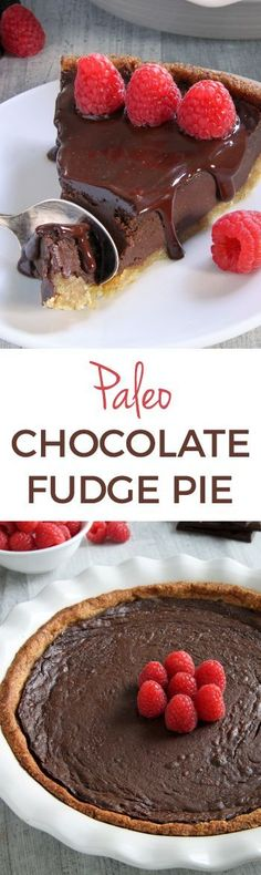 Paleo Chocolate Fudge Pie – silky smooth and decadent with an almond flour-based crust.