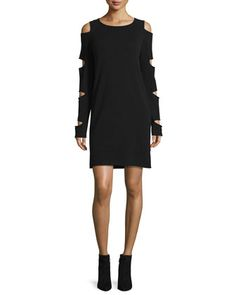 Slash+Cold-Shoulder+Cashmere+Sweaterdress+by+360Cashmere+at+Neiman+Marcus.