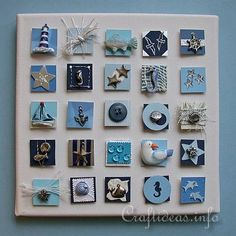 Summer Canvas Picture with Inchies - Maritime Theme