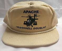 Vintage Apache Helicopter McDonnell Douglas Tan Cream Yellow Colored  Corduroy Embroidered Baseball Hat Cap. It 7de3d269073d