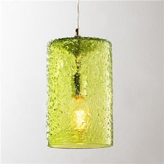 Pebbled Glass Cylinder Pendant, I liked this in the sea glass blue.