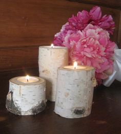 "5"",4"",3"" Birch Bark Candle Holders 1 Set of 3 Home Decor Wedding Christmas Wood Candles on Etsy, $11.99"