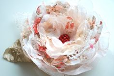 Vintage inspired fabric rose-Brooch