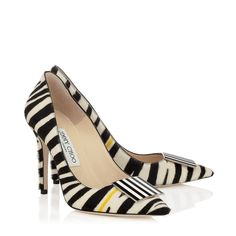 Black and White Zebra Print Pony with Yellow Stripe Pointy Toe Pumps   Dimple   Spring Summer 15   JIMMY CHOO Shoes