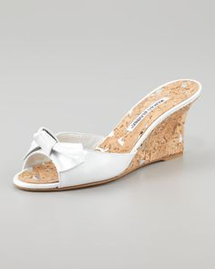 Liss Bow Slide Cork Wedge, White by Manolo Blahnik at Neiman Marcus.