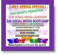 Early Spring Special Don't miss this opportunity to grow your business networks... If you are in the #DMV get on board for the Boot Camp training and one month free service for only $49!!! Inbox me for details or sign up on www.socialbuthaflinet.blogspot.com