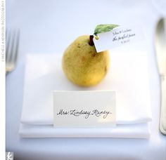 Perfection.  Our wedding theme was also pears, nothing better than fruit and flowers....