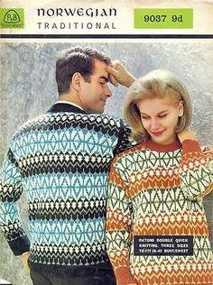 Norwegian-Sweater-34-42-Vintage-60s-Knitting-Pattern-P-B-9037