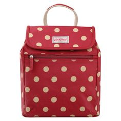 Button Spot Mini Backpack | Cath Kidston | A neat cherry red rucksack that you can wear as a fashiony mini backpack, or use as a simple shoulder bag, simply by adjusting the straps. Special popper fastenings keep your possessions safe and button together quickly.