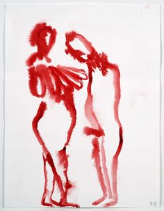 Louise Bourgeois - Couple, 2007  Gouache on paper  59.6 x 45.7 cm / 23 1/2 x 18 in