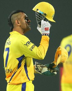 MS Dhoni sported a mohawk when he took the field on his homeground, Chennai Super Kings v Titans, Champions League Group B, Ranchi, Se. Cricket Videos, Cricket Score, Live Cricket, David Beckham Football, Dhoni Quotes, Ms Dhoni Wallpapers, India Cricket Team, Cricket Wallpapers, India Win