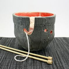 Yarn Bowl cable knit texture functional ceramic bowl by hadleyclay