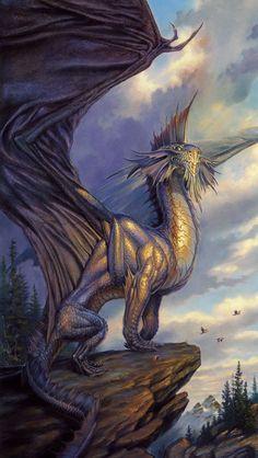 A Silver Dragon ~ Todd Lockwood Dragon Fantasy Myth Mythical Mystical Legend Dragons Wings Sword Sorcery Magic