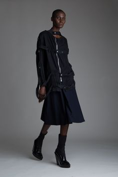 Vintage Punk Straight-Jacket Shirt and Hermes Skirt. Designer Clothing Dark Minimal Street Style Fashion