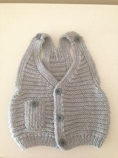 So stinkin cute :-) Grey Handknitted   Baby Vest, baby boy vest, 2 - 3 years
