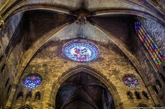 Gothic lines - inside Cathedral of Saint Mary of Girona, Spain