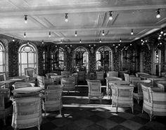 """""""The Verandah Cafe, also known as the Verandah and Palm Court, this room was actually two rooms as there was one on each side of the ship, just aft of the first class smoking room. Ivy grew up the trellis-covered walls, and white wicker furniture and high arched windows completed the airy, outdoor effect."""" from Titanic: An Illustrated History"""