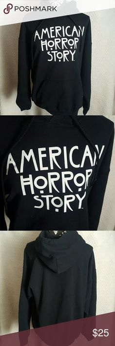 American Horror Story Hoodie Size Large Perfect for any fan of the show. The hoodie is in a men's size but I know how girls love men's clothes. I usually get my band shirts in a men's  size. The hoodie has typical wear but has plenty of life left. Sweaters