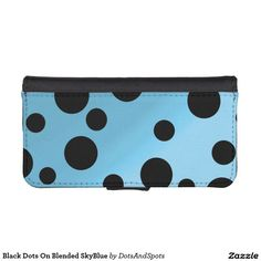 Black Dots On Blended SkyBlue iPhone 5 Wallet Cases