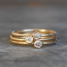 Skinny Mini Diamond Stacking Rings Set of 3 - Choose White or Natural Brown Diamonds, Eco-Friendly Recycled Gold by LilianGinebra on Etsy https://www.etsy.com/listing/201552986/skinny-mini-diamond-stacking-rings-set