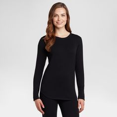 fa849628e6c Warm Essentials by Cuddl Duds Women s Everyday Comfort Scoop Neck Thermal  Top - Black XXL