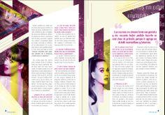 Diseño editorial de revista femenina pin up. Doble página (Nota de revista).