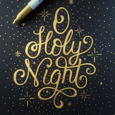 Holy night lettering—